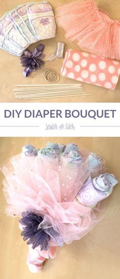 DIY Diaper Bouquet Tutorial on scratchandstitch.com