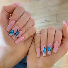 35 Fantastic Designs For Coffin Nails You Must Try Minimalistic Butte. - 35 Fantastic Designs For Coffin Nails You Must Try Minimalistic Butterfly Nail Art ❤ F - Aycrlic Nails, Hot Nails, Manicures, Stiletto Nails, Pink Tip Nails, Almond Nails Natural, Hot Nail Designs, Popular Nail Designs, Popular Nail Art
