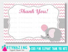 New from Partymazing on Etsy: Pink Elephant Thank You Printable Note Pink Chevron Elephant Thank You Cards Instant Download Pink Elephant Baby Shower Collection D365 (5.00 USD) For more @partymazing