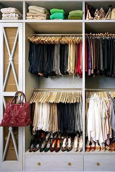 """How To Organize Your Most Cluttered Spaces #refinery29  http://www.refinery29.com/one-kings-lane/2#slide-1  Inside The Closet…Motivate Yourself with Matching HangersNo, having <a href=""""https://www.onekingslane.com/product/50152/2929665?utm_source=15%20Organizing%20Tricks%20for%20Inside%20Your%20Most%20Clutter-Prone%20Spots&utm_medium=stories%26videos&utm_content=shop_now&utm_campaign=S/6%20Slack%20Wood%20Hangers"""" rel=""""nofollow"""" target..."""