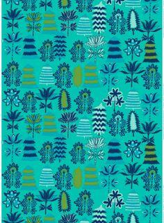 Satumetsä cotton (turquoise,green,d.blue) |Fabrics, Cottons | Marimekko
