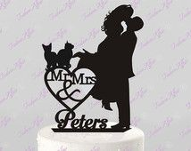 Wedding Cake Topper Silhouette Couple Mr & Mrs Personalized with Last Name and Two Cats, Acrylic Cake Topper Silhouette Couple, Wedding Silhouette, Cat Cake Topper, Acrylic Cake Topper, Bear Wedding, Wedding Wishes, Wedding Cake Toppers, Wedding Cakes, Wedding Couples
