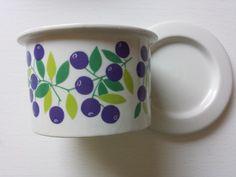 SALE 18% - Mint Pomona Blueberry jam jar with a lid from Arabia Finland, designed by Raija Uosikkinen by Petriberry on Etsy https://www.etsy.com/uk/listing/188689326/sale-18-mint-pomona-blueberry-jam-jar