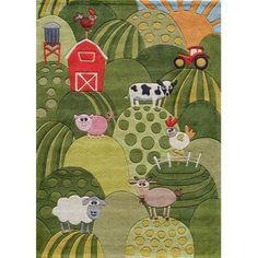 Momeni Lil Mo Whimsy Farmland Area Rug, Green