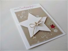 more at the site! Very simple & beautiful Stamped Christmas Cards, Homemade Christmas Cards, Holiday Cards, Christmas Crafts, Paper Cards, Diy Cards, Stampin Up Weihnachten, Karten Diy, Star Cards