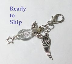 Planner charm. Planner goodies. Angel charm. Planner stuff. Inspirational gift. Angel wings. Spiral notebook. Dangle charm. Spiral notebook. by LaBellaBottega13 on Etsy