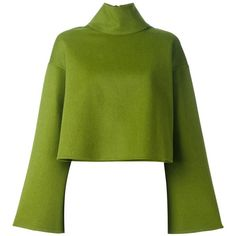 Bally flared sleeve jumper found on Polyvore featuring tops, sweaters, green, metallic sweater, green jumper, zip top, zip sweater and green top
