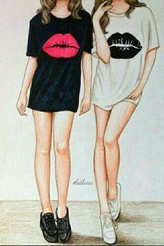 Drawing Of Girls Friends Bff Best Friend Sketches, Friends Sketch, Best Friend Drawings, Tumblr Drawings, Girly Drawings, Girly M, Best Friend Goals, Best Friends Forever, Girl Wallpaper
