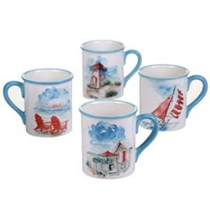 Hand painted In The Moment Coastal Scenes ceramic Mugs Set of 4