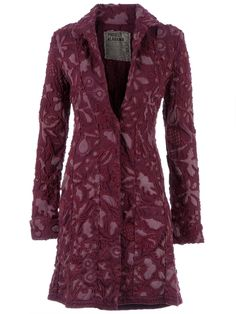 Purple recycled cotton coat from Project Alabama featuring a lilac floral pattern, a lapel collar, long sleeves with turn-up cuffs, a single front button fastening and a woven trim. Versace, Cool Coats, Purple Coat, Coat Patterns, Blazer, Fashion Sewing, Couture, Coats For Women, Alabama
