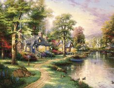 Artistic Painting  Artistic House River Village Colors Colorful Wallpaper