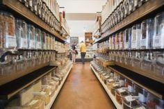 Zero-waste grocer in.gredients in Austin, TX, asks that customers bring their own containers to buy most of the items in bulk.