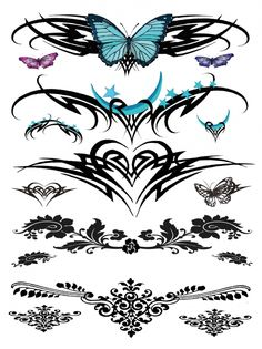 Tribal Moon and Butterfly Temporary Tattoo. This is a Tribal Lower Back Temporary tattoo of all sorts of tribal designs with blue hearts, blue butterflies, and henna . All the images together measures approx 7 long x 5 wide. Paar Tattoos, Bild Tattoos, Neue Tattoos, Body Art Tattoos, Tribal Tattoos, Celtic Tattoos, Dreamcatcher Tattoos, Irish Tattoos, Eagle Tattoos