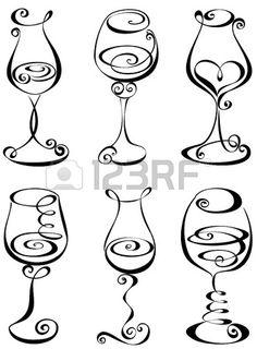 Stylized black and white wine glass Stock Vector glass crafts painted Stylized black and - Vine Ideas Wine Glass Drawing, Zentangle, Wine Tattoo, Wine Glass Tattoos, Schrift Tattoos, Chalkboard Art, Pyrography, Doodle Art, Line Art