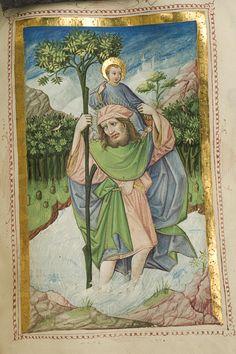 National Library of Sweden Medieval Times, Medieval Art, Medieval Manuscript, Illuminated Manuscript, Catholic Religion, Saint Christopher, Byzantine Art, Religious Art, Mythology