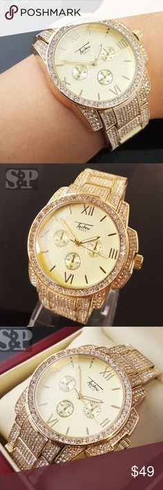 Mens Gold Tone Iced Out Rapper Bling Luxury watch Brand : Techno Pave 100% brand new Case size : 43mm (Diameter) Finish: 14K Gold Plated Case Back : Stainless Steel Lab Simulated Diamonds on the face & Bracelet Movement: Quartz Japan Battery included. Weight: 157 grams Lock: Fold Over (Wallet Clasp) Gender: Men's Removable Links (Adjustable) Luxury style Accessories Watches