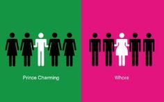 Men vs Women by Yang Liu / 2014 Men Vs Women, Meet Women, Illustration Simple, Make My Day, Prince Charmant, Misandry, Double Standards, Intersectional Feminism, Man Vs