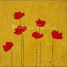 Paintings by Monica Fallini: Red Poppies art on yellow background, contemporary...