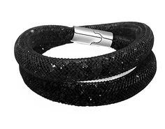 Stardust Crystal Mesh Bracelet / Necklace - Magnetic Clasp - Black Sparkle