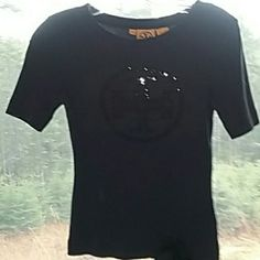"""Navy Tory Burch TEE This little baby is adorable with crystal detail n center.  The sleeves are 8"""" s.- longer than the typical tee. 21"""" long Tory Burch Tops Tees - Short Sleeve"""