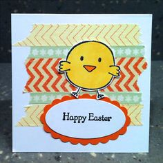 The Crafty Corgi: 7 Days of Easter Projects - Day 7 I used Washi Tape and a Unity Chick for this mini card