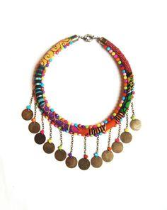 Collier -MASSAÏ- wax tissu africain sequins perles : Collier par kumbhaka