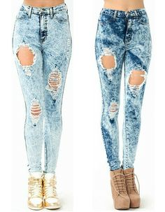 Popular High Waist ACID Mineral Wash Distressed Ripped Skinny Denim Jean Pants