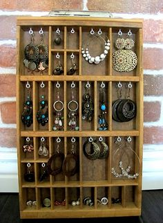 Pretty Jewelry Display using a printer's drawer!  Love the way this was done #jewelryinspiration #cousincorp