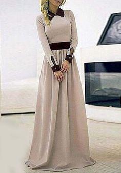 Stylish Flat Collar Long Sleeve Color Block Maxi Dress For Women