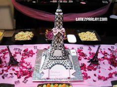 Paris Themed Birthday Party Eiffel Tower Cake #Pink #black #white #birthday #parisian #cake #decoration #sweet