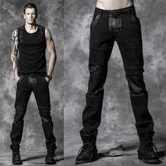 Personalized Men Black Skull Punk Rock Fashion Casual Pants Trousers SKU-11404309