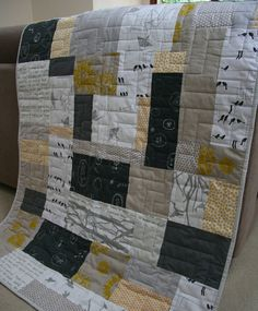 from little things) grellow quilt Grellow quilt using screenprinted fabrics Grellow Quilt, love the modern touch yellow siding, beige porch and stairs, white railings, and a NAVY FRONT DOOR. gorgeous quilt in aussie designer fabric -might this look good Big Block Quilts, Boy Quilts, Scrappy Quilts, Quilt Blocks, Quilt Baby, Patchwork Quilting, Neutral Quilt, Grey Quilt, Quilting Projects