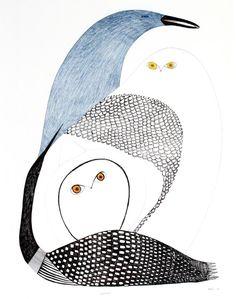 by Ningeokuluk Teevee 2009 ink, pencil, crayon Inuit Kunst, Arte Inuit, Inuit Art, Owl Art, Bird Art, Bird Quilt, Organic Art, Artist Sketchbook, Native American Artists