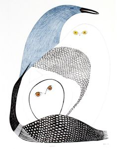 by Ningeokuluk Teevee 2009 ink, pencil, crayon Inuit Kunst, Art Inuit, Owl Art, Bird Art, Bird Quilt, Organic Art, Native American Artists, Indigenous Art, Aboriginal Art