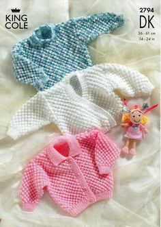 baby bobble stitch cardigans & sweater knitting pattern