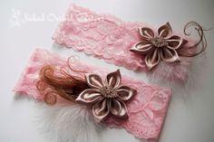 Blush Pink Garter Set Neutral Wedding Garter by NakedOrchidGarters, $35.00