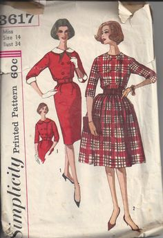 MOMSPatterns Vintage Sewing Patterns - Simplicity 3617 Vintage 60's Sewing Pattern FAB Mad Men Secretary Double Breasted Modest Sheath or Full Skirt Day Dress, Bloused Bodice Size 14