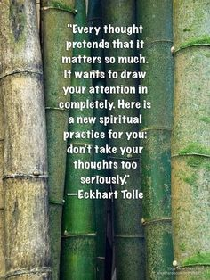 Every thought pretends that it matters so much. It wants to draw your... | Eckhart Tolle Picture Quotes | Quoteswave