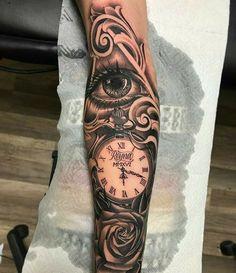 Forearm Sleeve Tattoos, Full Sleeve Tattoos, Tattoo Sleeve Designs, Tattoo Designs Men, Shoulder Tattoos, Clock Tattoo Sleeve, Jesus Tattoo, Elbisches Tattoo, Jesus Forearm Tattoo