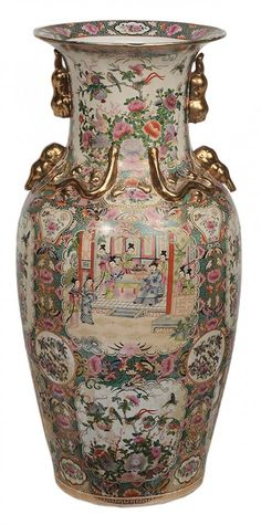 """Monumental Famille Rose Decorated Floor Vase, Chinese, 20th Century, Base with Iron-Red Seal Mark, Shoulder Set with Gilt Embellishments. Height : 37"""""""