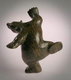 """Dancing Bear"" : Inuit polar bear sculpture"