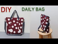 DIY Make a tote bag/Suitable as a daily bag/토트&크로스백만들기/가방만들기/실용적인 데일리백[jsdaily] - YouTube Sewing Hacks, Projects To Try, Tote Bag, Knitting, How To Make, Diy Bags, It's Easy, Zipper, Pockets