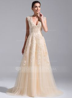 A-Line/Princess V-neck Court Train Tulle Wedding Dress With Beading Appliques Lace Sequins (002071758)