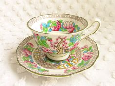 Vintage Royal Albert Indian Tree Teacup Saucer 1930s 1940s Footed Avon Shape