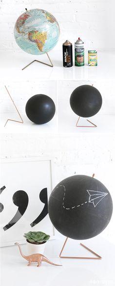 STEPS | Copper Chalkboard Globe | I SPY DIY