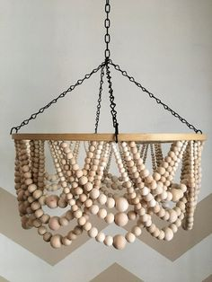 Wooden Bead Chandelier, Beaded Mobile, Wood Shade - All For Decoration Wooden Hoop, Wooden Diy, Wooden Beads, Wood Bead Chandelier, Handmade Chandelier, Chandelier Ideas, Outdoor Chandelier, Wooden Lampshade, Lampshades