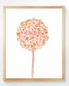 Coral Girl's Room Decor, Coral Room Decor, Coral Flower Print, Coral Flower, Coral Watercolor, Peach Decor, Coral Decor, Pastel Wall Decor