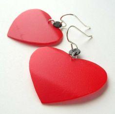 **2****///     vis*******///////Plastica riciclata cuore orecchini rosso