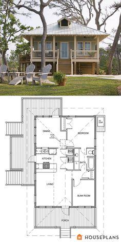 Coastal Cottage House Plan 900sft plan 536-2 - Plan 536-2  869 sq ft  2 beds  1 baths  24' wide  44' deep