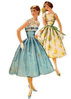 1957 Bridesmaid Dress - Fitted Bodice Full Skirt w/ Mock Bolero - Simplicity 2022 - Complete Vintage Pattern. $21.00, via Etsy.